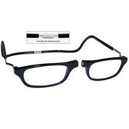 +1.5 Clic Reader Eyeglasses City XXL Expandable Black Magnet