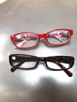 2 Pack  + 2.50 Reading Glasses  - Features A Clear Lens Read