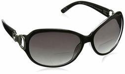 +3.25 Womans Foster Grant Black & Silver Bifocal Sunglasses