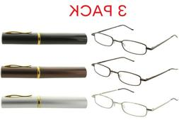 3 Pack Metal Reading Glasses Readers with Tube Case for Men
