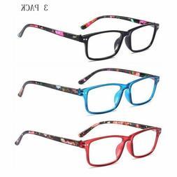 3 PACK Reading Glasses Readers Rectangular Spring Hinges Men