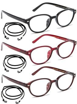 3 Pack Women Fashion Reading Glasses with String Value Pack