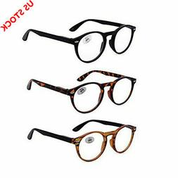 3 PACK Vintage Reading Glasses Round Spring Hinge Reader1.0