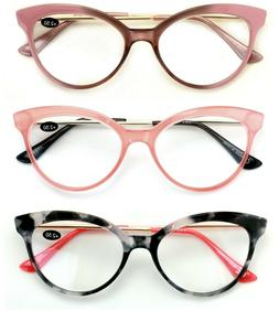 3 Pairs Women Cateye Pointed Tip Reading Glasses - Metal Tem