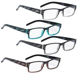 Reading Glasses 4 Pack Fashion Spring Hinge Readers Great Va