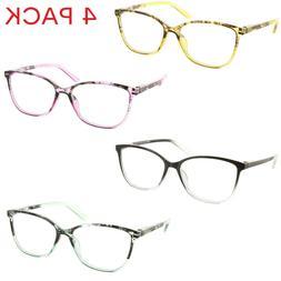 4 Pack Reading Glasses Cateye Clear Lens Spring Hinge Reader