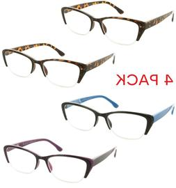 4 Pack Reading Glasses Cateye Semi Rimless Readers for Men a