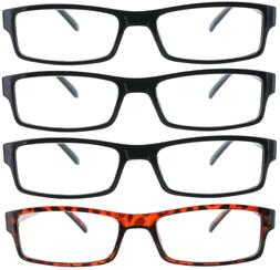 4 Pack Reading Glasses Classic Clear Lens Readers for Men an