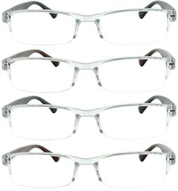4 Pack Reading Glasses Readers Men Women Semi Rimless Square