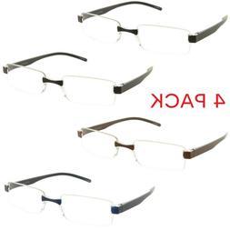 4 Pack Reading Glasses Rimless Clear Lens Readers for Men an
