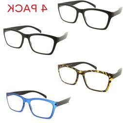 4 Pack Reading Glasses Square Flexible Frame Readers for Men