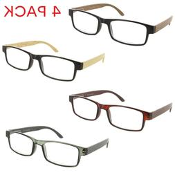 4 Pack Reading Glasses Wood Style Clear Lens Readers for Men