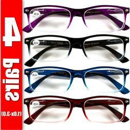 4 Pair Rectangular Spring Hinge Power Reading Reader Glasses