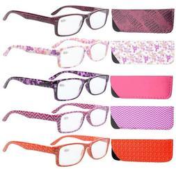 5-Pack Spring Hinges Patterned Reading Glasses Readers Women