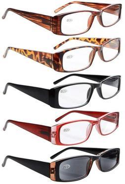 Eyekepper 5-Pack Spring Hinges Rectangular Reading Glasses S