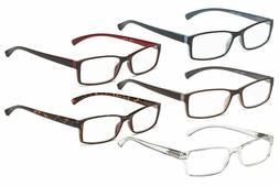5 Pairs Reading Glasses Rectangular Comfort Readers Women Me