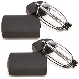 DOUBLETAKE 2 Pack Compact Folding Readers Reading Glasses w