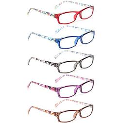 Reading Glasses 5 Pairs Fashion Ladies Readers Spring Hinge