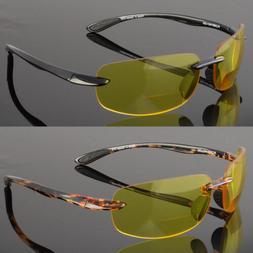 Bifocal Glasses Yellow Tint Night Vision Riding Driving Spor