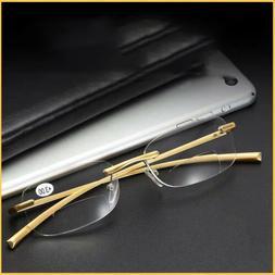 Bifocal Reading Glasses Rimless Vintage Readers +1.0 1.5 2.0