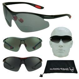 Bifocal Sunglasses Sun Readers Rimless Wrap Golf Cycling Asi