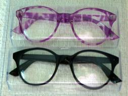 Betsey Johnson Black Purple Print 2 Pair Readers Oversized R