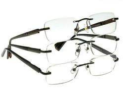 Design Optics By Foster Grant Men's Readers Rimless 3 pack R