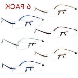 6 Pack Reading Glasses Lightweight Flexible Readers for Men