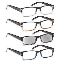 GAMMA RAY 4 Pack Spring Hinge Reading Glasses Unisex Readers