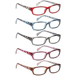 Gamma Ray Women's Reading Glasses - 5 Pairs Flex Hinge Fashi