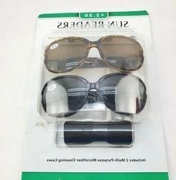 Icon Eyewear  2Pk Ladies Sun Readers +2.50 Add Black & Brown