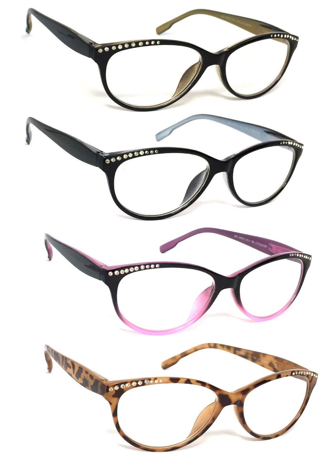 3 pairs womens retro cat eye rhinestones