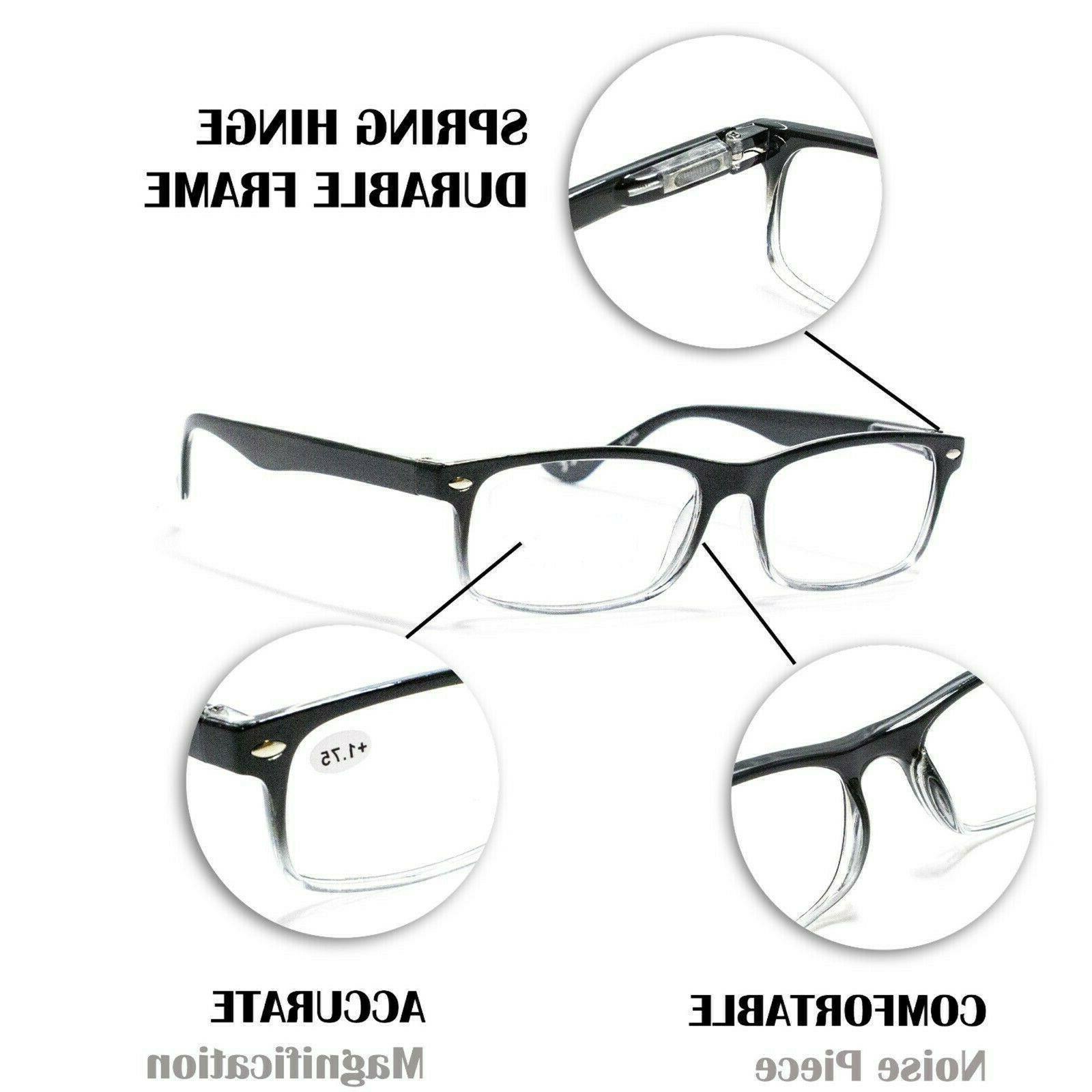 4 Rectangular Spring Hinge Power Reading Reader Glasses For 1-3