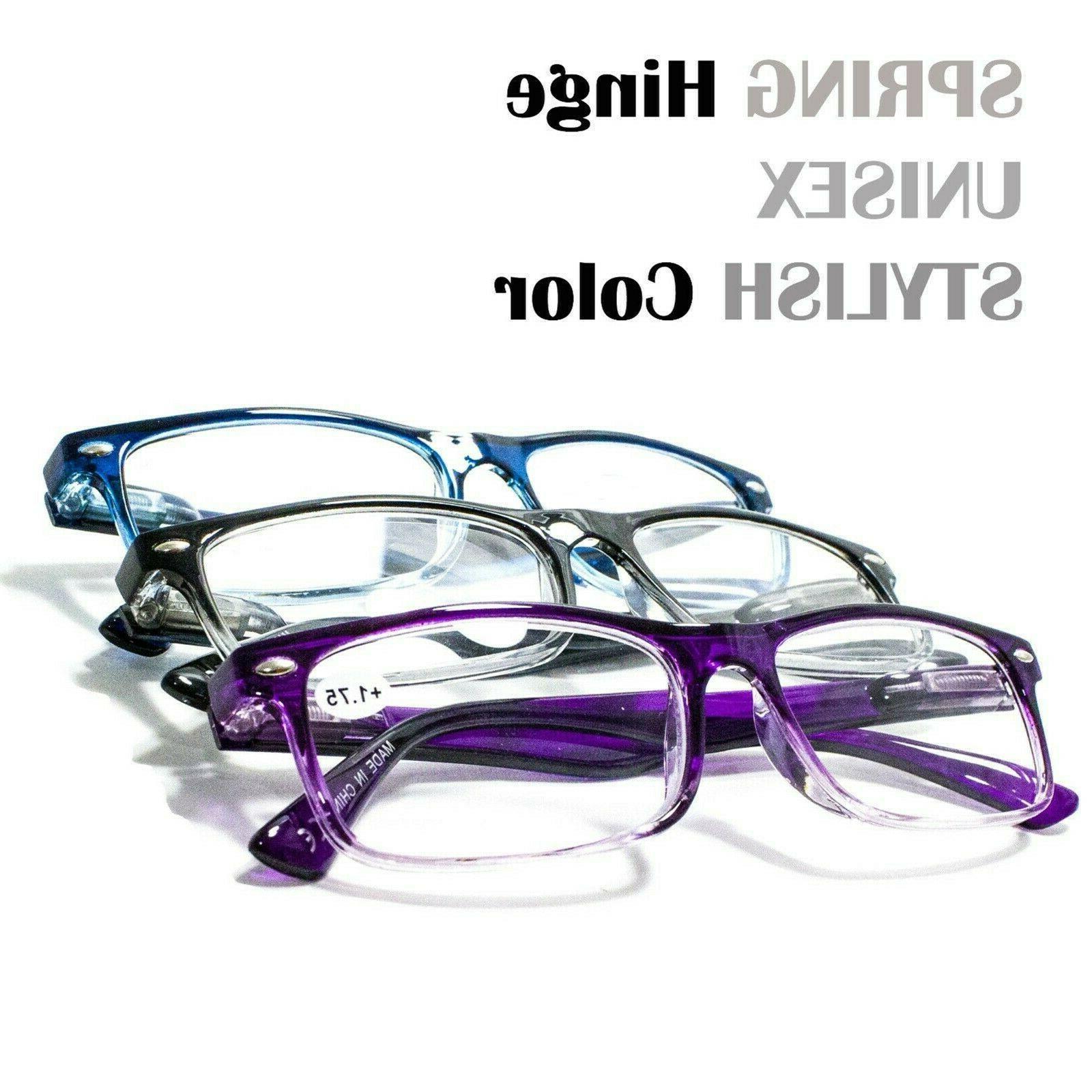 4 Pair Rectangular Hinge Reading Glasses 1-3