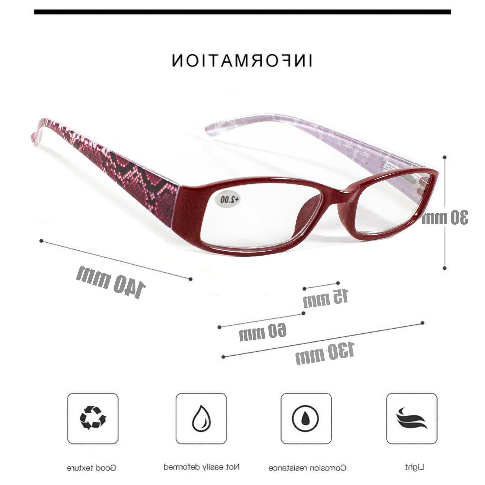 4 Mens Womens Unisex Spring Hinge Reading Glasses 1-3