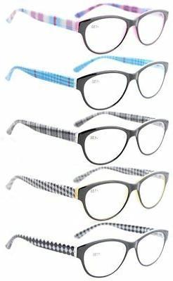 5-Pack Readers Spring Hinges Retro Cat-eye Reading Glasses W