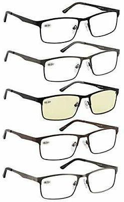 Eyecedar 5-Pack Reading Glasses Men Metal Frame Rectangle +1