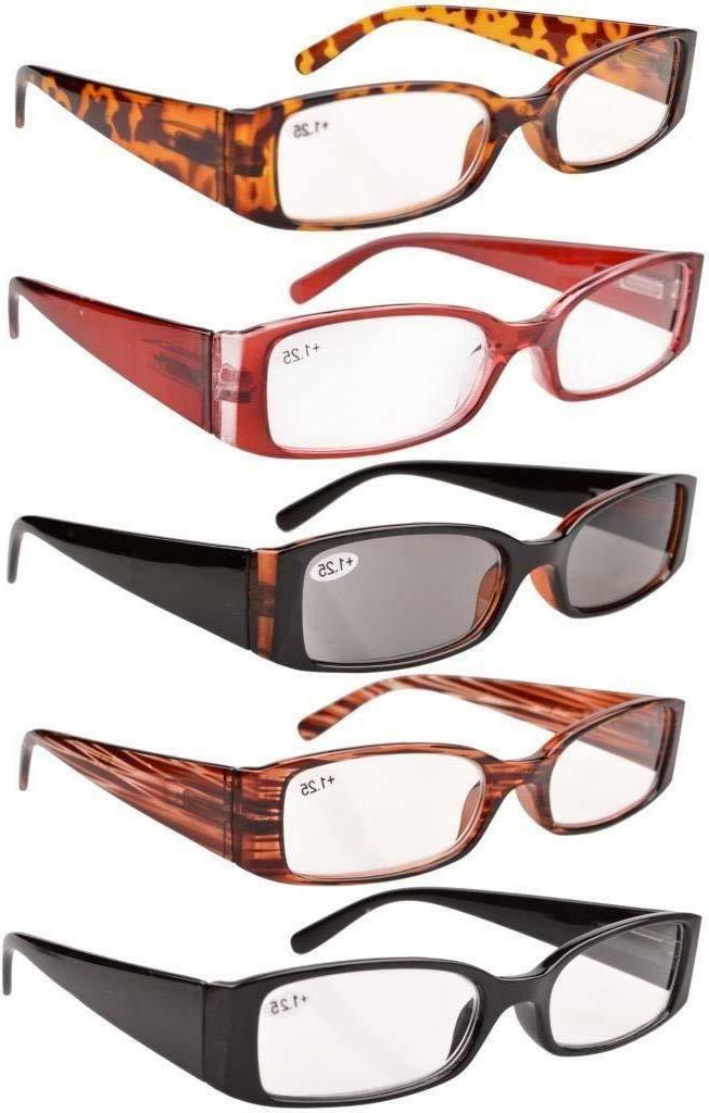 5 pack reading glasses rectangular frame includes