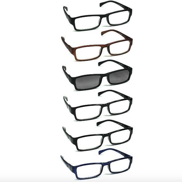 6 pack reading glasses unisex spring hinges