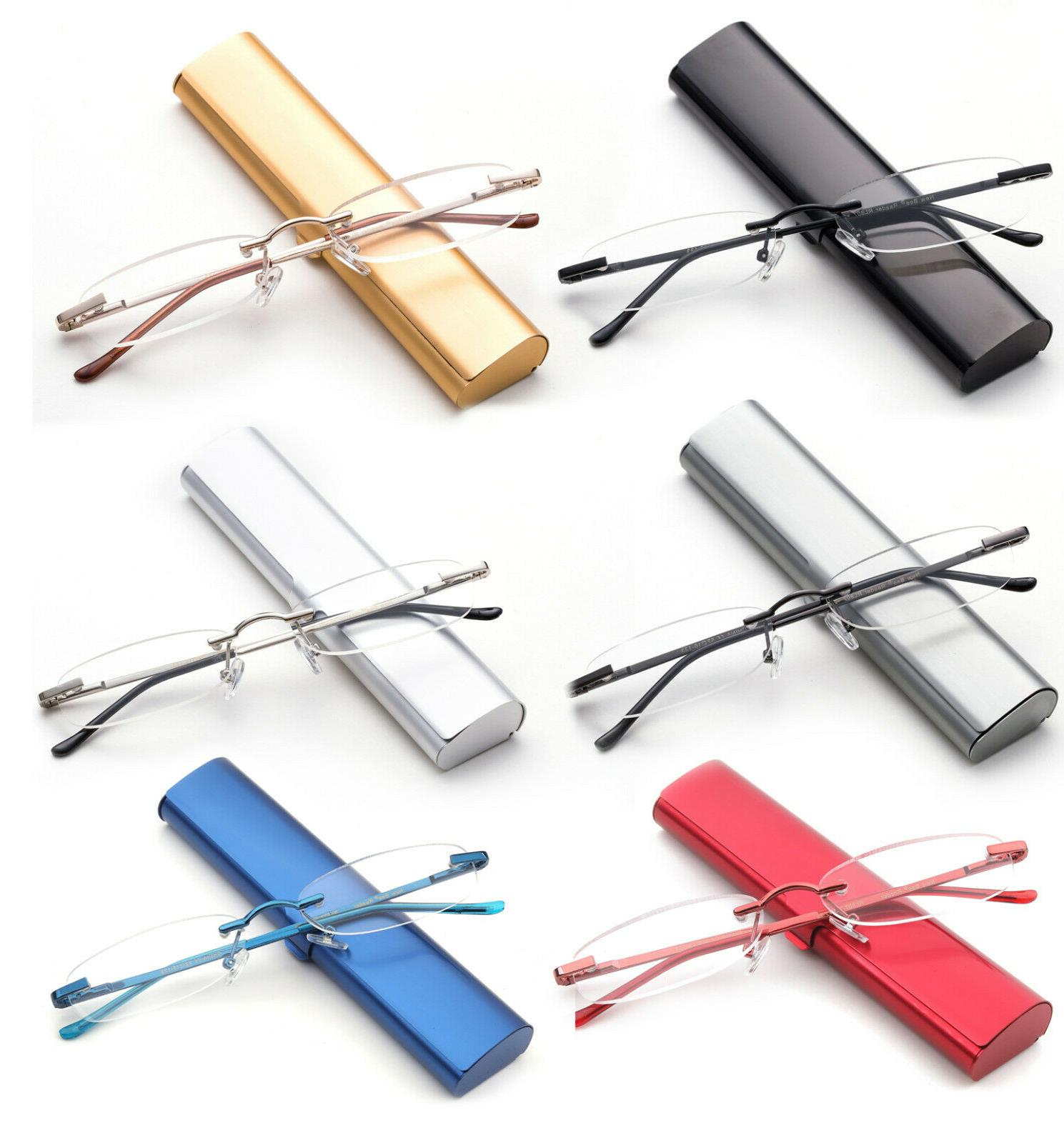 classic rimless compact reading glasses readers travel