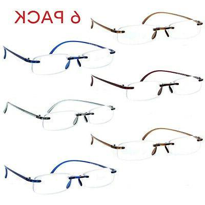feather flex 6 pack clear rimless reading