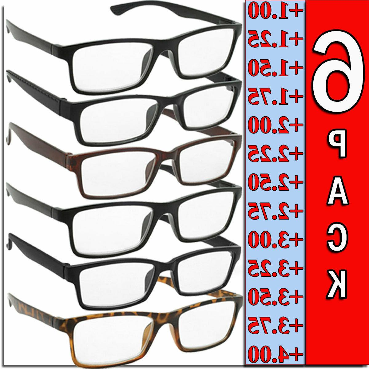 mens womens 6 pairs square frame readers