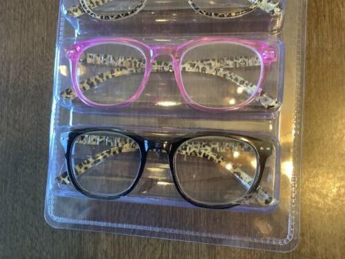 Set 3 Johnson Leopard Glasses +2.00