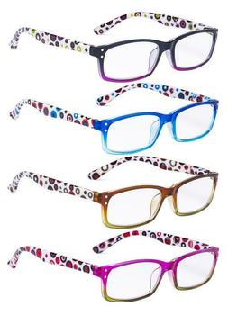 Ladies Reading Glasses 4 Pack Cute Dot Pattern Temples Reade