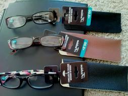 Lot of 3 Fashion Reading Glasses with Cases, 2.0 Power