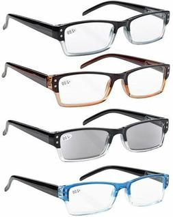 Eyekepper 4 Pack Spring Hinges Reading Glasses Includes Sun