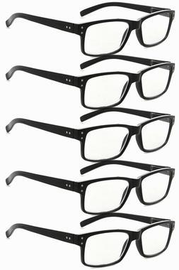 Eyekepper Men's 5-pack Spring Hinges Vintage Reading Glasses