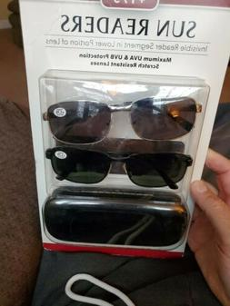 SUN READERS Men's Reading Sunglasses, 2-pack with cases +1.7
