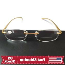 Mens Rimless Bifocal Reading Glasses 1.0 1.5 2.0 2.5 3.0 3.5