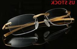Men Bifocal Reading Glasses Rimless Readers Business Eyeglas